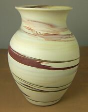 Variegated Stoneware Pottery Vase Desert Colors Beige Brown SIGNED Jeanie 1985