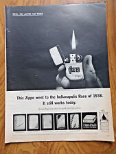 1963 ZIPPO Lighter Ad Indianapolis Race of 1938 Gene Trimpe Roberts Won Race