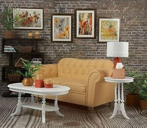 🌺for BARBIE white COFFEE SIDE TABLE SET living room FURNITURE ACCESSORY 1/6