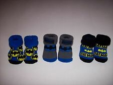 Batman Crib Shoes Booties Socks 3 Pair Sz 0-12 Mos Blu Gra Blk Yel DC Comics NIB