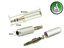 1x Gold 3 Pole 3.5mm Male stereo earphone headphone Jack Plug Soldering White