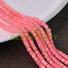 New 100pcs 4mm Cube Square Faceted Gold Foil Glass Loose Spacer Beads Deep Pink