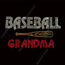 "Rhinestone Transfer "" Baseball Grandma "" with BAT Iron On, Hotfix , Bling Nana"