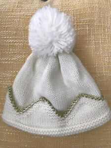 Baby Girls Clothing 0-12 Months Monsoon Bobble Hat White And Gold Winter