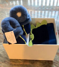 UGG I DYDO Baby Dinosaur Trim Booties And Hat Gift Set New In Box Sz 4/5 Blue