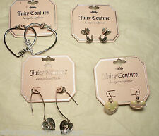 $68 Juicy Couture Heart Hoop Pink Heart Charm Silver Crystal Dangle Earrings LOT