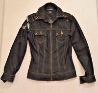 Bisou Bisou Michele Bohbot Dark Denim Jean Stretch Jacket Womens XS Distressed