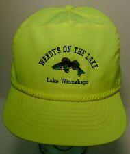 Vtg 90s Wendt On The Lake Lake Winnebago Wisconsin Walleye Fishing Neon Hat Cap