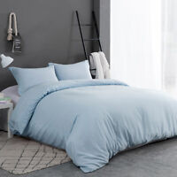 3PCS Quilt Duvet Cover Set Light Blue Pillow Case Pillow Shams Envelope Queen US