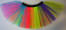 Adults Kids Fancy Dress Tutu Skirt Rainbow one Multi Coloured Costume Dance Neon