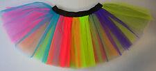 Adults Kids Fancy Dress Tutu Skirt Rainbow one Multi Coloured Costume Dance Neon