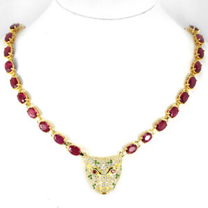 """REAL AAA RED RUBY & MULTI COLOR CZ STERLING 925SILVER TIGER NECKLACE 15-16.75"""""""