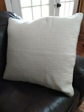 """Hotel Collection  22"""" x 22"""" Decorative Pillow White Stitches Feathers Filled EUC"""