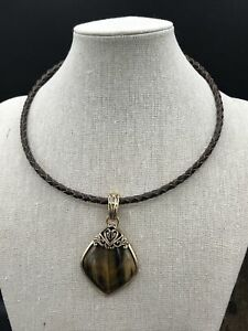 Barse Jungle Flower Enhancer (Collar) Necklace---Tigers Eye-Leather-Bronze- NWT