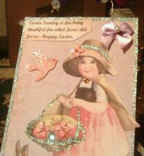 Handmade, one-of-a-kind Easter hanging collage card Swarovski