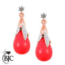 Pendientes de joyería con gemas rojo natural diamante