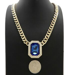 "Hip Hop Iced Multi Color Gemstone Pendant & 9mm 18"" Cuban Choker Chain Necklace"
