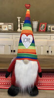 "Rae Dunn - LOVE 🌈 Rainbow Bearded Weighted Valentine Bottom Stuffed Gnome 20""H"