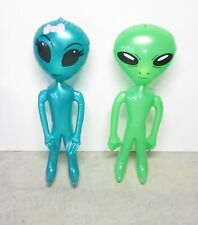 "2 INFLATABLE GREEN SPACE  ALIENS GIRL & GUY INFLATE ALIEN HALLOWEEN 36"" SIZE"