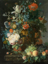 Still Life with Flowers and Fruits by Jan van Huysum 75cm x 56.6cm Canvas Print