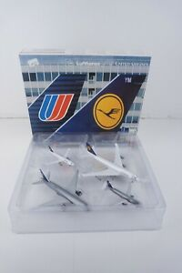 Rare Herpa Wings 1:500 Lufthansa United Airlines 4 Piece set Diecast Model Plane