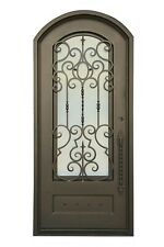 "Addison Single Front Entry Wrought Iron Door Rain Glass 38""x 82"" Left Hinge"
