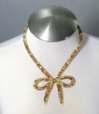 Betsey Johnson Gold Mesh Crystal Bow Collar Necklace NWT