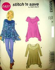 Miss McCalls 6583 Stitch n Save Pattern KNIT Tunics UNCUT Size 8-10-12-14-16
