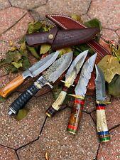 CUSTOM HAND FORGED DAMASCUS STEEL Hunting KNIFE W/ Wood Brass Guard HANDLE