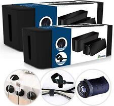 ( Black ) Cable Management Box Organizer Set Updated Anti-Skid Design