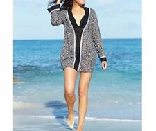 La Blanca Swim Cover Up M Black Crochet Cotton Long Sleeve Beach Tunic LB5KD55