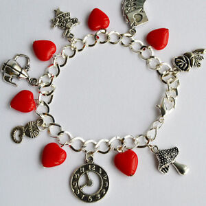 Alice in Wonderland Themed Charm Bracelet with Red Hearts Glass Beads