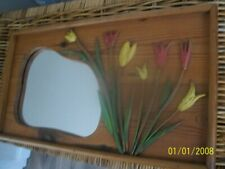 vintage hand made wooden wall mirror with hand carved flowers on