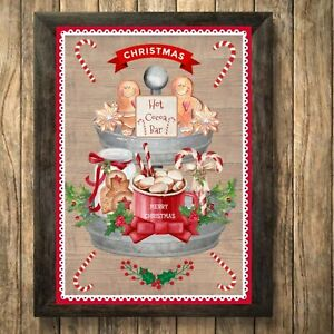 Hot Chocolate Print Sign,Christmas Picture Cocoa Decor, Gingerbread A4 Unframed