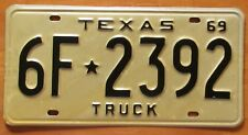 Texas 1969 TRUCK License Plate HIGH QUALITY # 6F-2392