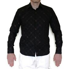 NEW River Island Black Shirt w/ Brown Stitched Criss-Cross/Crosshatch Pattern M