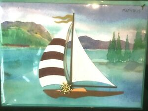 Papyrus Blank Card - Sailboat with Cloth Sewn Sails , Watercolor Background 3D