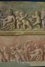 Beau tableau ancien Putti fresque Bacchanale Bacchus Clodion Sauvage Bouchardon