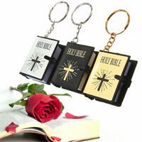 Mini Holy Bible Miniature English Paper Christian Jesus Alloy Keychain Keyring