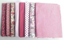 Mix 8 Red Asstd Pre-Cut Charm Cotton Quilting Fabric Fat Quarter Bundle 50x50cm