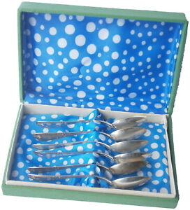 6 pcs Spoon SET Box JEWELRY Lot SILVER Mark 800 Weight 85.9 g GERMANY or Italy