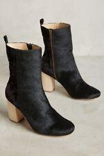 New Anthropologie Farylrobin Womens Dav Black Velvety Fur Ankle Boots Size 6