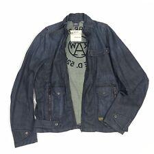 NEW G-Star Raw GS3301 Mens XXL Dark Wash Full Zip Biker Style Blue Denim Jacket