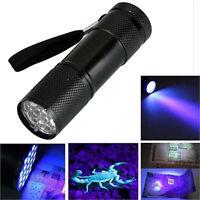 Mini Aluminum UV Ultra Violet 9 LEDs Flashlight Blacklight Torch Light Lamp AU