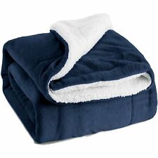 Bedsure Sherpa Throw Blanket Navy Blue Twin Size Reversible Fuzzy Bed Blankets