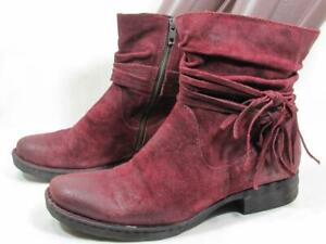 Born Cross Fringe Ankle Boot Women size 10 Berry Suede