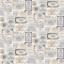 G12283 - Kitchen Recipes Wine Labels Beige Blue Galerie Wallpaper