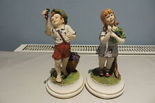 CAPODIMONTE BOY AND GIRL FIGURINES SIGNED M. LORY