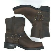 Frye Harness 8R Sz 10 Motorcycle Nubuck Leather Gaucho Brown Mens Boots 87400