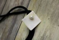 Pearl Shell Bolo Tie Western Necklace Black White Lariat Unisex Jewelry Vintage